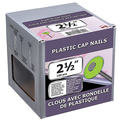 2 1/2-inch Plastic Cap Nail-1.5kg (approx. 150  pieces per package)