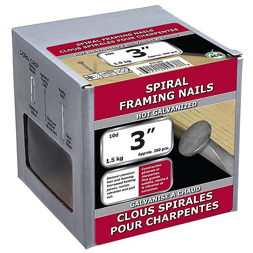 3-inch (10d) Spiral Framing Nail-Hot Galvanized-1.5kg (approx. 260  pieces per package)