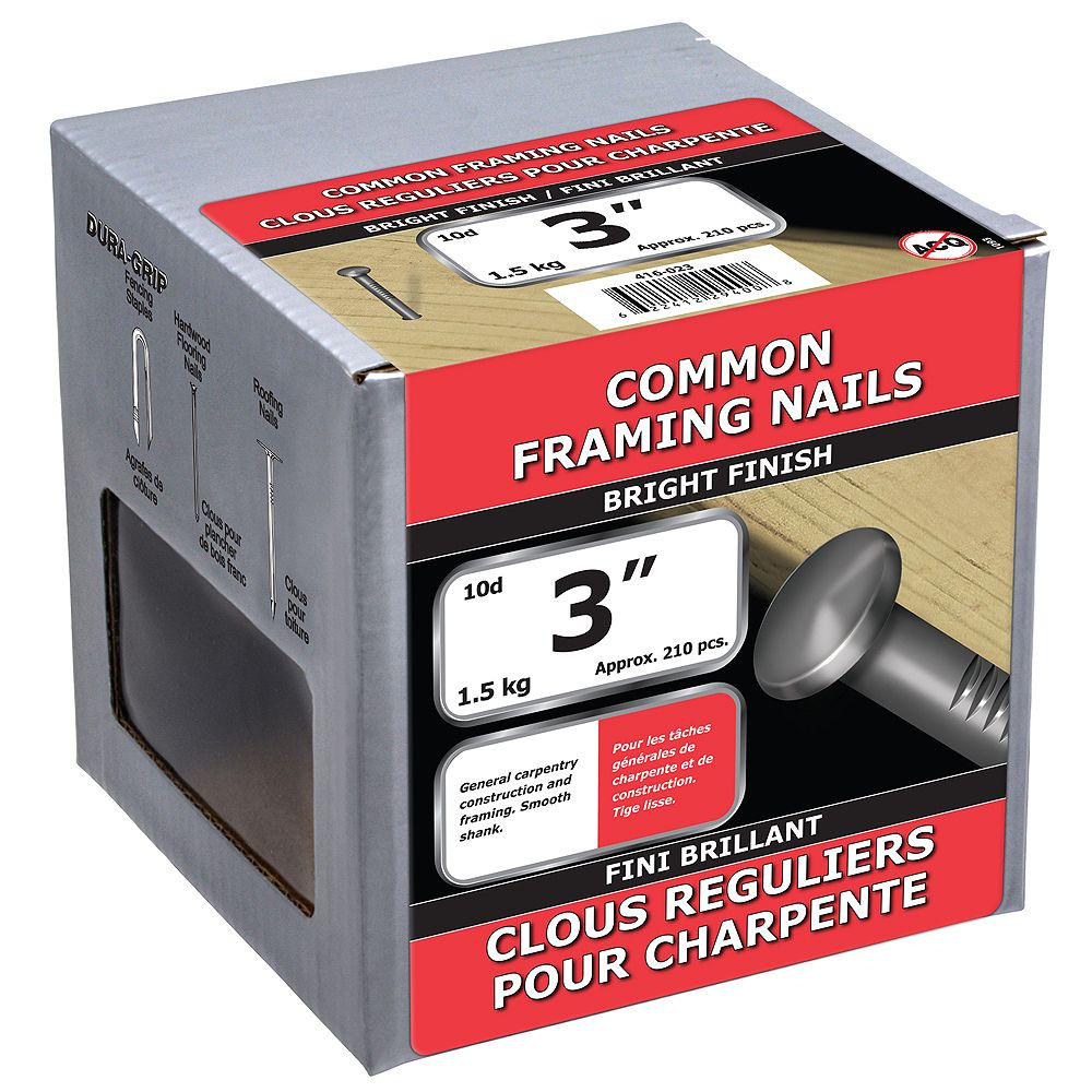 Paulin 3-inch (10d) Common Framing Nails Bright Finish - 1.5kg (approx. 218 pcs. per package)