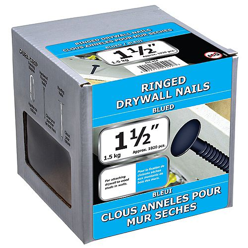 1 1/2-inch (4d) Drywall Ring Nail-Blued-1.5kg (approx. 1020  pieces per package)