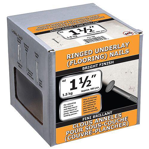 Clous de sous-couche cerclés de 1-1/2 pouce (4d) Finition brillante - 1,5kg (environ 989 pcs. par paquet)