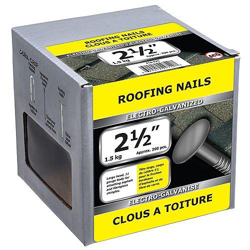 Clous de toiture 2-1/2 pouces électro-zingués - 1,5 kg (environ 364 pièces par paquet)