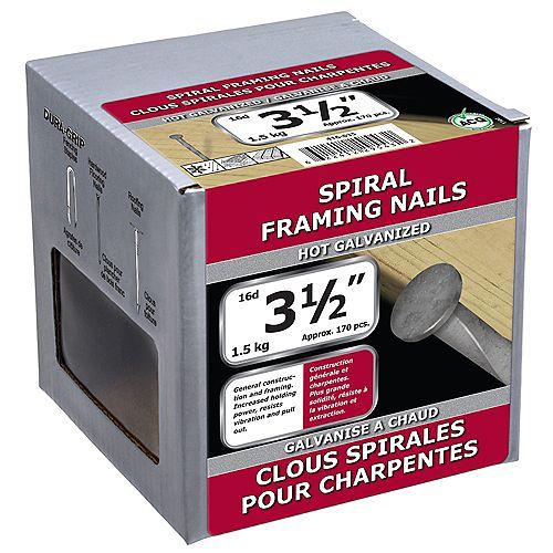 Clous pour charpente en spirale de 3-1/2 pouces (16d) galvanisés à chaud - 1,5 kg (environ 178 pièces par paquet)