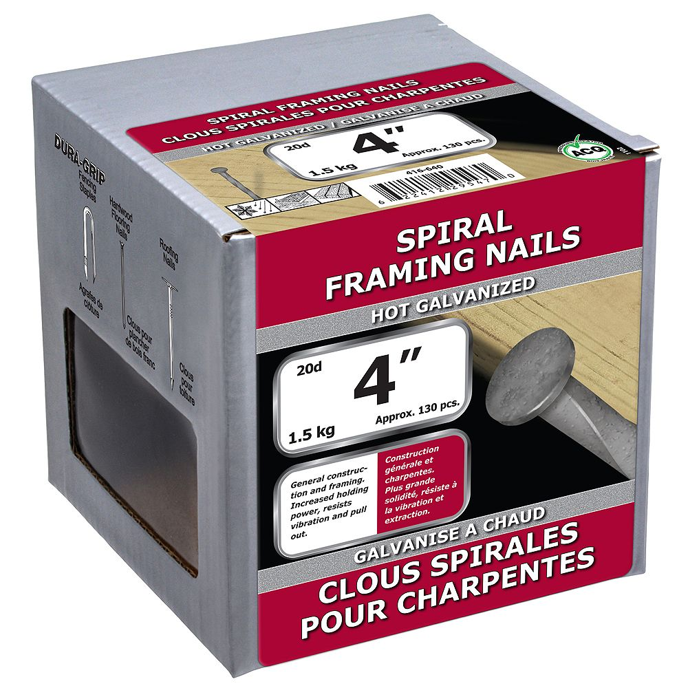 Paulin 4-inch (20d) Spiral Framing Nails Hot Galvanized - 1.5kg (approx. 132 pcs. per package)