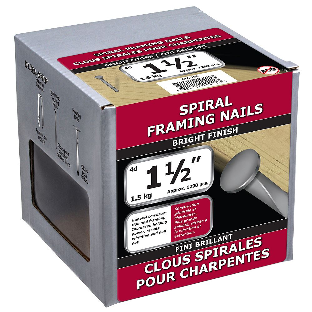 Paulin 1-1/2-inch (4d) Spiral Framing Nails Bright Finish - 1.5kg (approx. 1297 pcs. per package)