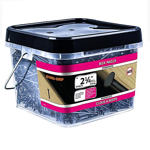Boîte de 2 1/4 po (7d) de 2 1/4 po (7d) d'encadrement enduit de phosphate et de clous - 30 lb (environ 5917 pièces par paquet)