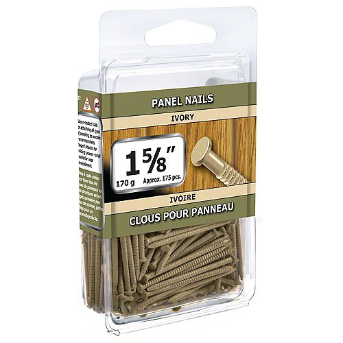 1 5/8-inch Ivory Panel Nails-170g (approx. 176  pieces per package)