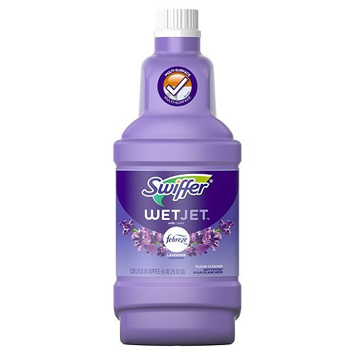 Swiffer 1.25 L  WetJet Multi-Purpose and Hardwood Liquid Floor Cleaner Solution Refill, Lavender Vanilla & Comfort