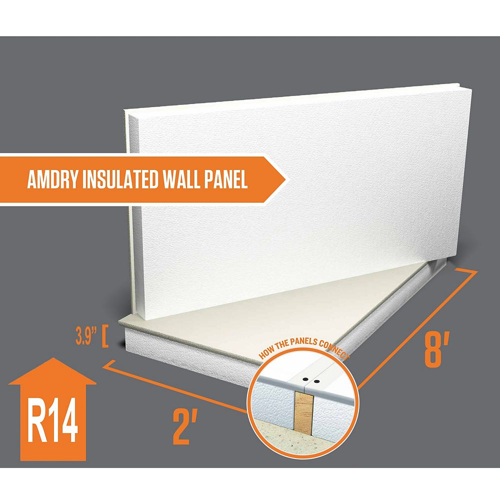 Amdry 3 9 Inch X 48 Inch X 96 Inch R14 Type 1 Insulated Wall Panel The Home Depot Canada