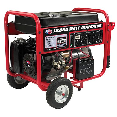 10,000W Gasoline Powered Portable Generator with Mobility Cart, Electric Start
