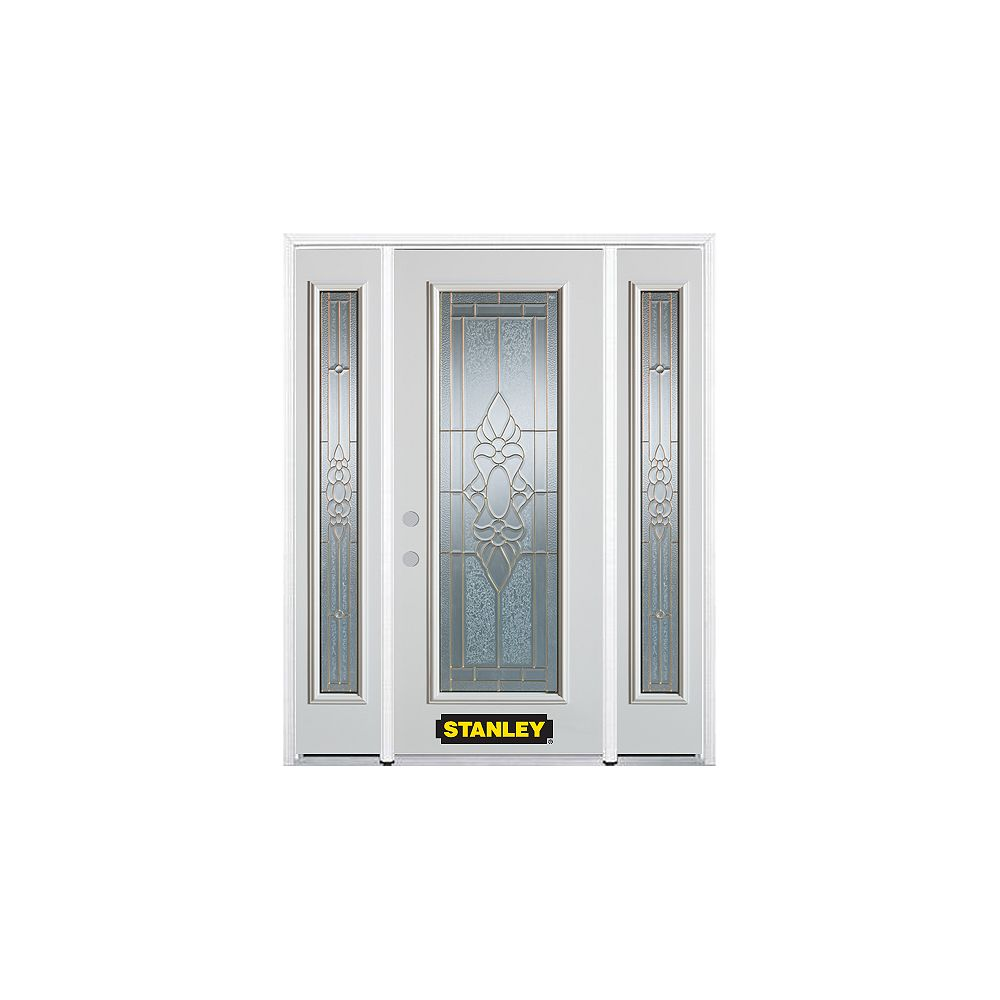 STANLEY Doors 68.5 inch x 82.375 inch Victoria Brass Full Lite Prefinished White Right-Hand Inswing Steel Prehung Front Door with Sidelites and Brickmould - ENERGY STAR®