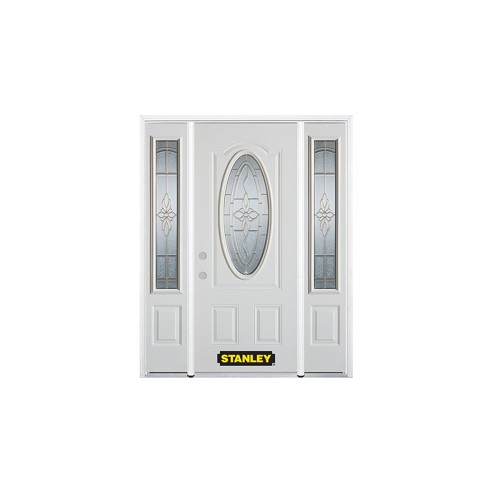 STANLEY Doors 64.5 inch x 82.375 inch Trellis Brass 3/4 Oval Lite 2-Panel Prefinished White Right-Hand Inswing Steel Prehung Front Door with Sidelites and Brickmould
