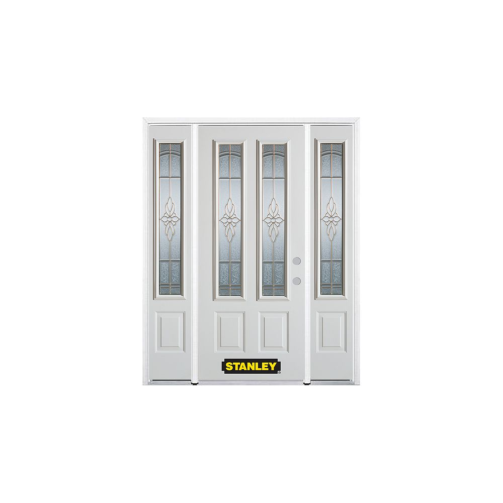 STANLEY Doors 64.5 inch x 82.375 inch Trellis Brass 2-Lite 2-Panel Prefinished White Left-Hand Inswing Steel Prehung Front Door with Sidelites and Brickmould