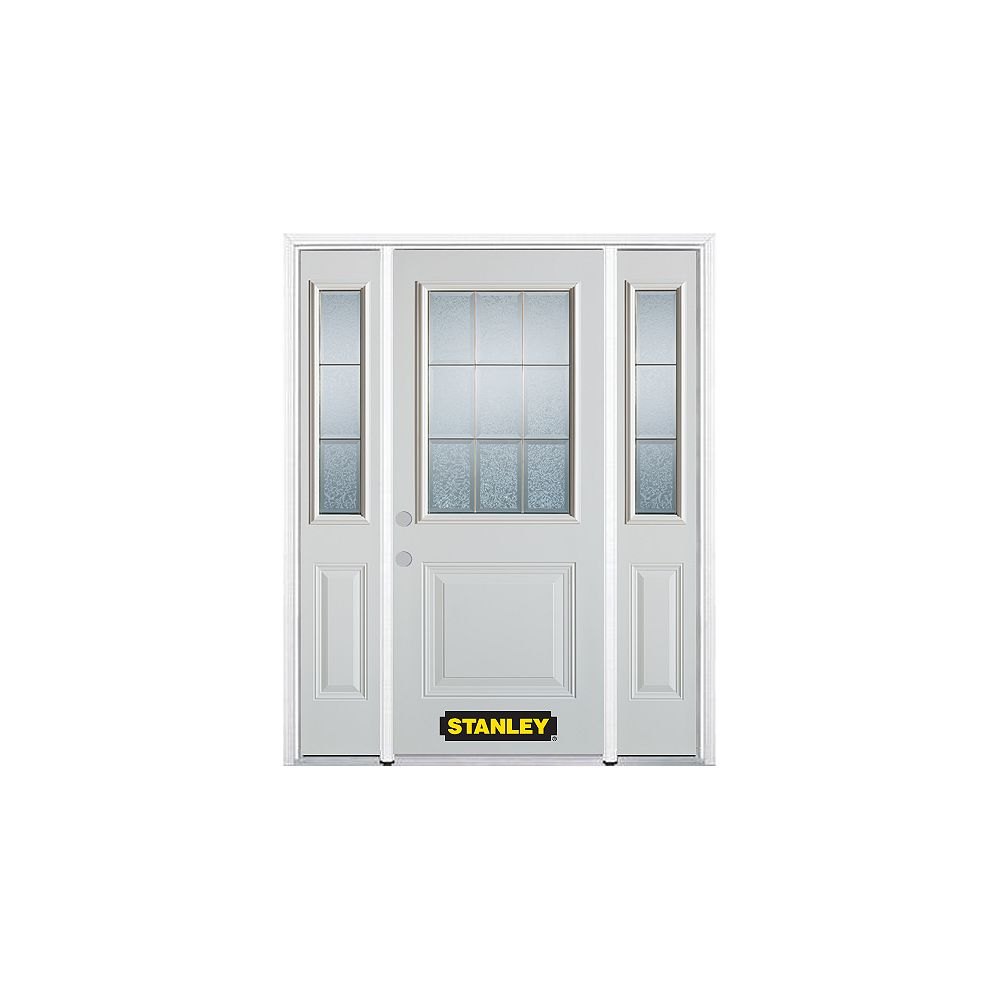 STANLEY Doors 64.5 inch x 82.375 inch Diana Brass 1/2 Lite 1-Panel Prefinished White Right-Hand Inswing Steel Prehung Front Door with Sidelites and Brickmould