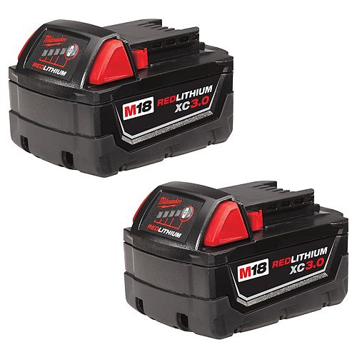Milwaukee Tool M18 18V Lithium-Ion Extended Capacity (XC) 3.0 Ah REDLITHIUM Battery (2 Pack)
