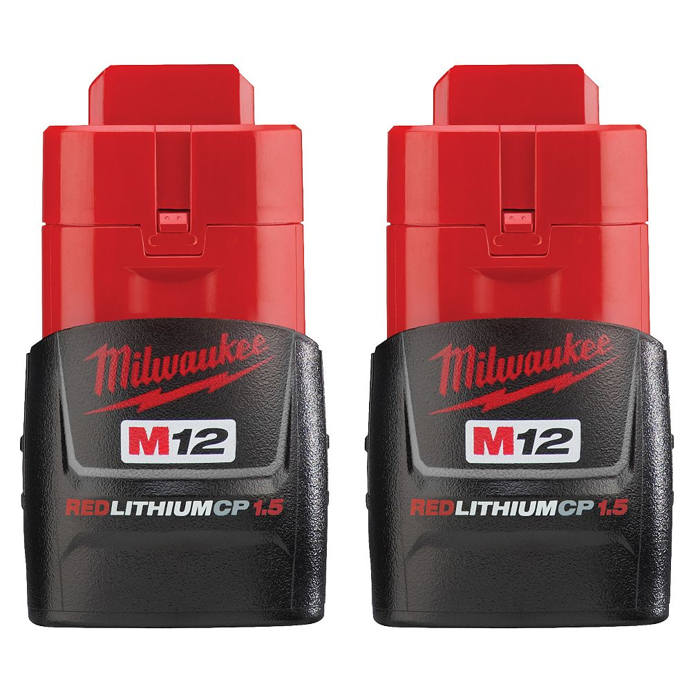Milwaukee Tool M12 12V Lithium-Ion Compact (CP) 1.5 Ah REDLITHIUM Battery (2 Pack)