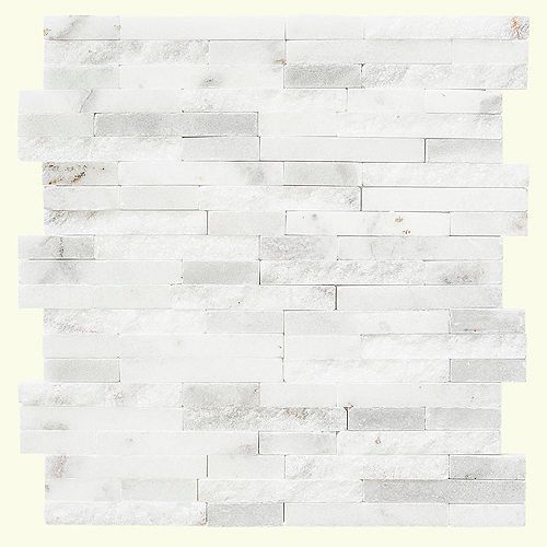 Churchill White Split Face 11.75-inch x 12.5-inch x 8 mm Marble Mosaic Wall Tile