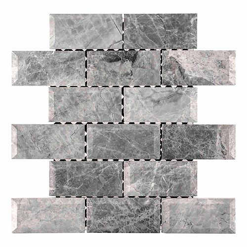 Tundra Grey 2 x 4 Bevelled 12-inch x 12-inch x 10 mm Marble Mosaic Wall Tile