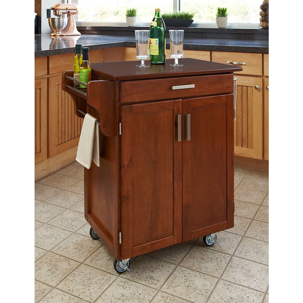 Home Styles Cuisine Cart Warm Oak Finish with Cherry Top