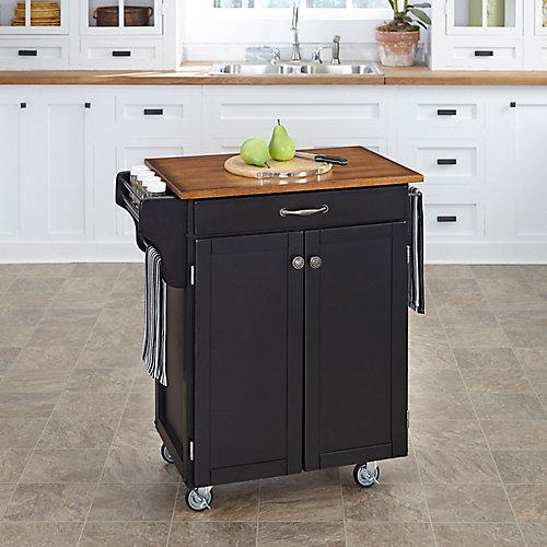 Cuisine Cart Black Finish with Oak Top