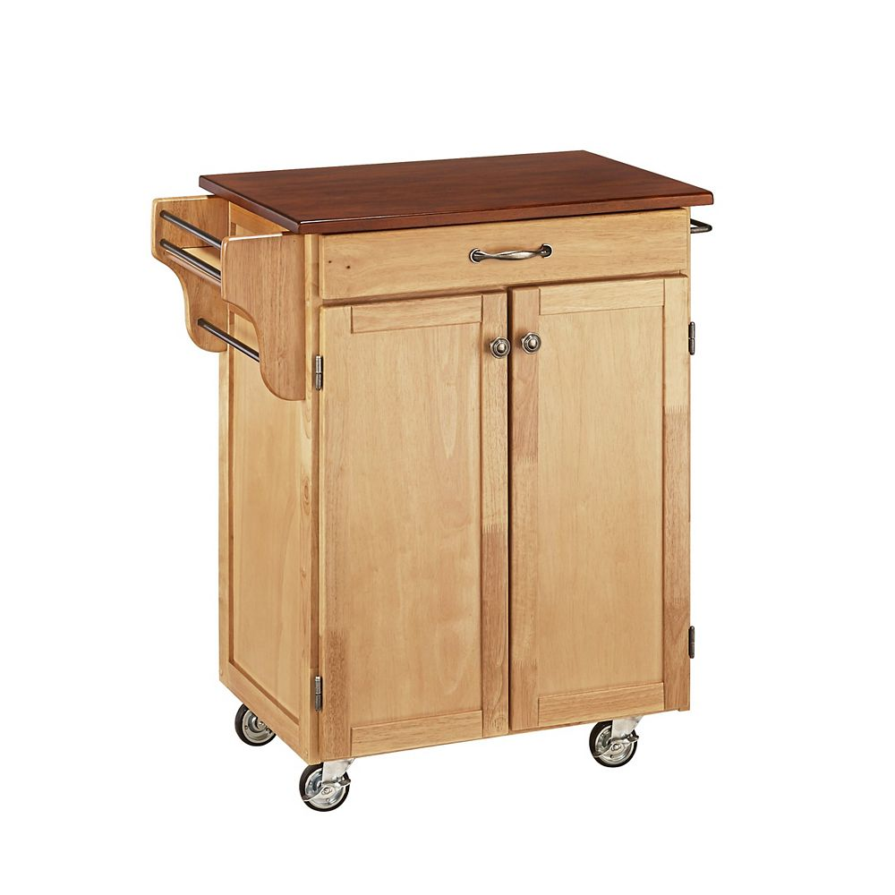 Home Styles Cuisine Cart Natural Finish with Cherry Top