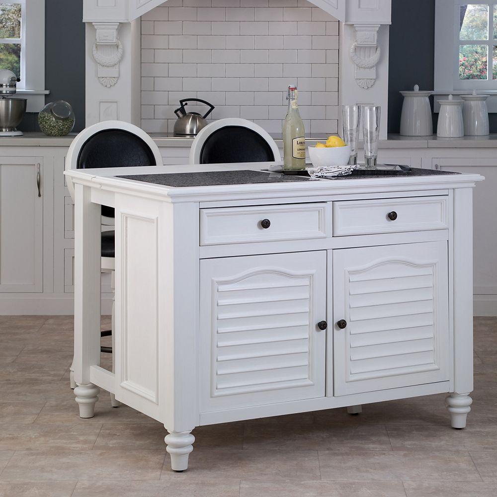Home Styles Bermuda White Kitchen Island & Two Stools