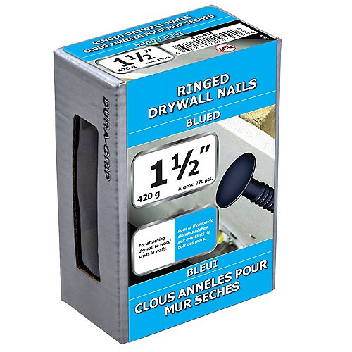 1 1/2-inch (4d) Drywall Ring Nail-Blued-420g (approx. 270  pieces per package)