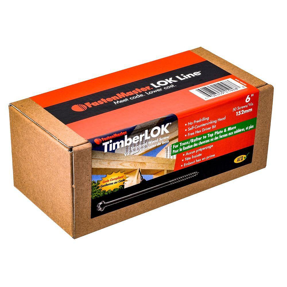 FastenMaster 6- Pouces TimberLOK Vis à bois de charpente en noir (50 pcs)