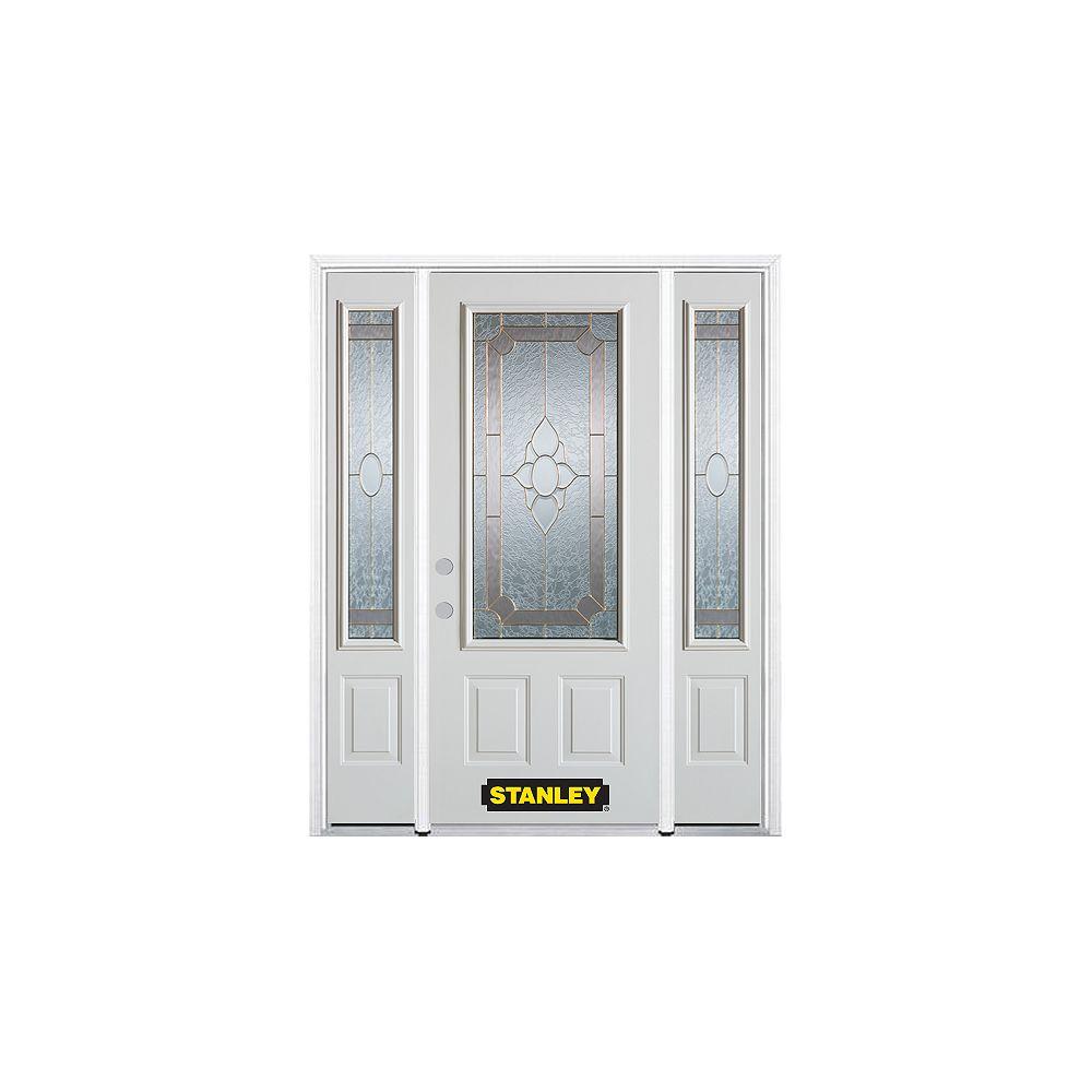 STANLEY Doors Porte dentrée en acier préfini en blanc, munie de deux panneaux et dun 3/4 verre, 68 po x 82 po avec panneaux latéraux et moulure de brique