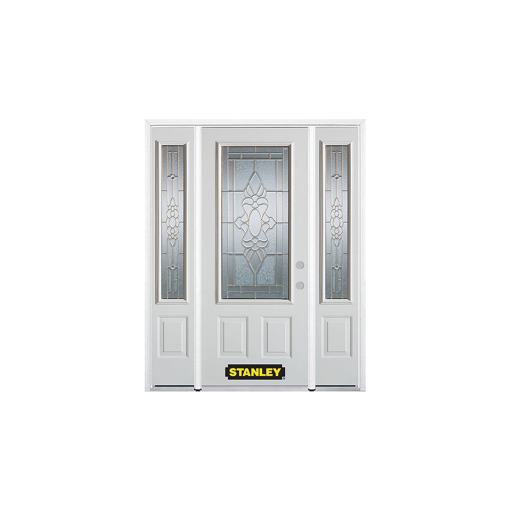 STANLEY Doors 68.5 inch x 82.375 inch Victoria Brass 3/4 Lite 2-Panel Prefinished White Left-Hand Inswing Steel Prehung Front Door with Sidelites and Brickmould