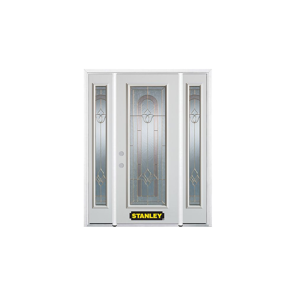 STANLEY Doors 66.5 inch x 82.375 inch Marilyn Brass Full Lite Prefinished White Right-Hand Inswing Steel Prehung Front Door with Sidelites and Brickmould