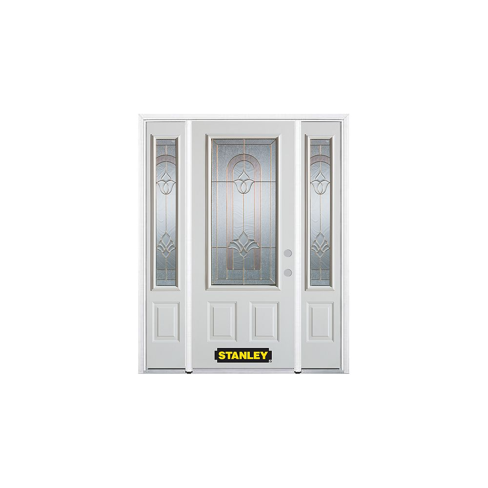 STANLEY Doors 64.5 inch x 82.375 inch Marilyn Brass 3/4 Lite 2-Panel Prefinished White Left-Hand Inswing Steel Prehung Front Door with Sidelites and Brickmould