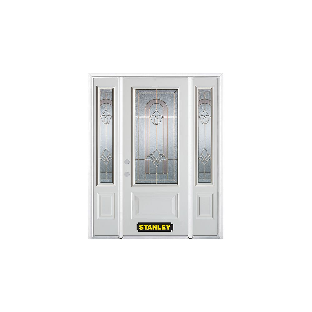 STANLEY Doors 64.5 inch x 82.375 inch Marilyn Brass 3/4 Lite 1-Panel Prefinished White Right-Hand Inswing Steel Prehung Front Door with Sidelites and Brickmould