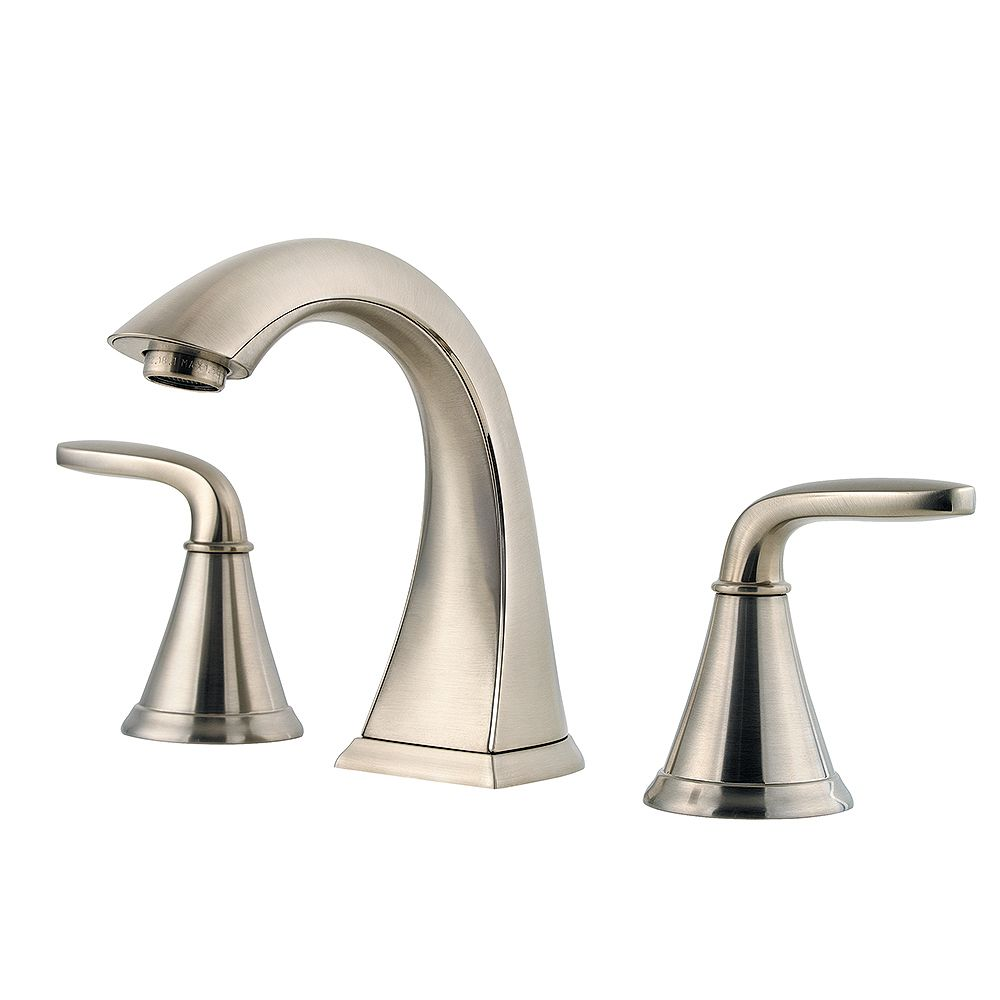 Pfister Pasadena Widespread (8-inch) 2-Handle Mid Arc Bathroom Faucet in Brushed Nickel with Lever Handles