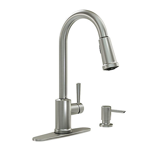 Indi Pulldown Kitchen Faucet and Soap Dispenser in Spot Resist Stainless Finish