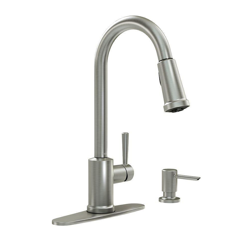 MOEN Indi Single-Handle Pull-Down Sprayer Kitchen Faucet with Reflex and Power Clean in Spot Resist Stainless