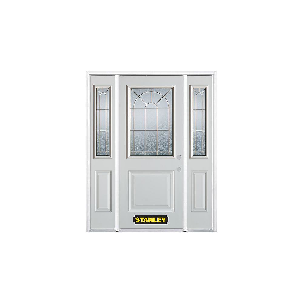 STANLEY Doors 68.5 inch x 82.375 inch Elisabeth Brass 1/2 Lite 1-Panel Prefinished White Left-Hand Inswing Steel Prehung Front Door with Sidelites and Brickmould - ENERGY STAR®