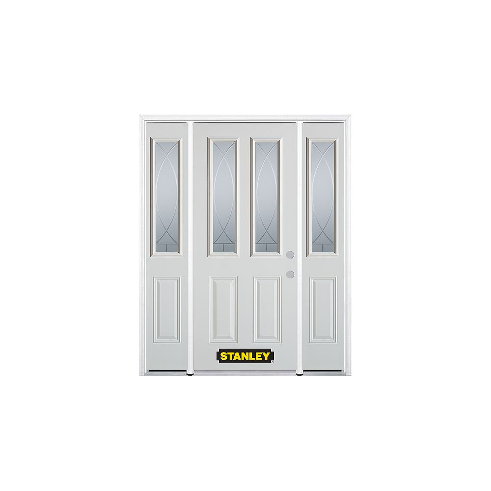 STANLEY Doors 68.5 inch x 82.375 inch Bourgogne 2-Lite 2-Panel Prefinished White Left-Hand Inswing Steel Prehung Front Door with Sidelites and Brickmould