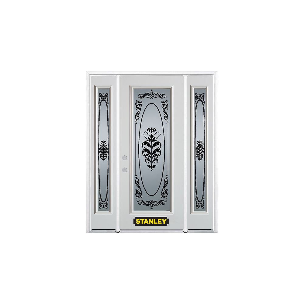 STANLEY Doors 64.5 inch x 82.375 inch Renoir Full Lite Prefinished White Right-Hand Inswing Steel Prehung Front Door with Sidelites and Brickmould