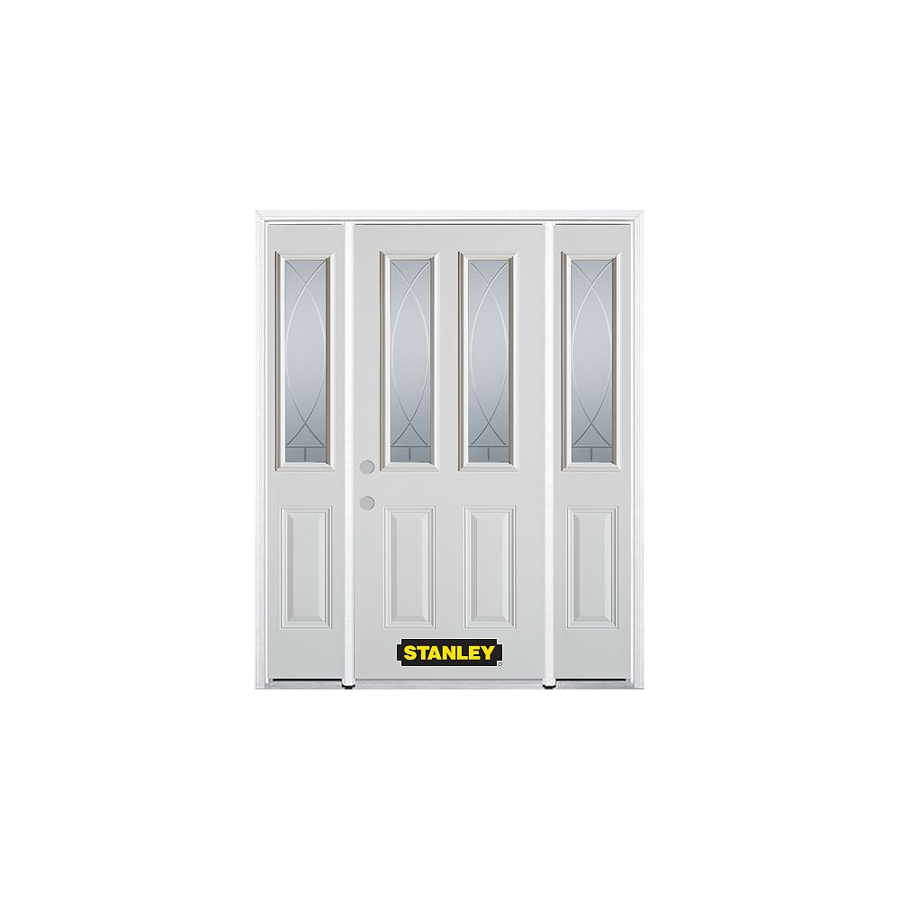 STANLEY Doors 64.5 inch x 82.375 inch Bourgogne 2-Lite 2-Panel Prefinished White Right-Hand Inswing Steel Prehung Front Door with Sidelites and Brickmould