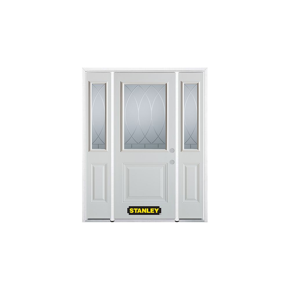 STANLEY Doors 66.5 inch x 82.375 inch Bourgogne 1/2 Lite 1-Panel Prefinished White Left-Hand Inswing Steel Prehung Front Door with Sidelites and Brickmould
