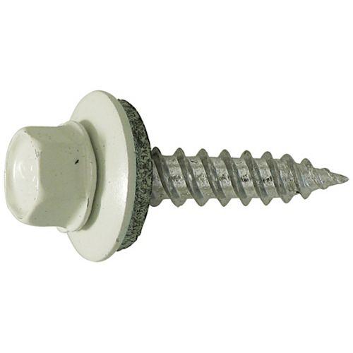 Vis à tête hexagonale #10 x 1-1/2 -pouce auto-scellante pour toiture / bardage - zingué - blanc -100pcs