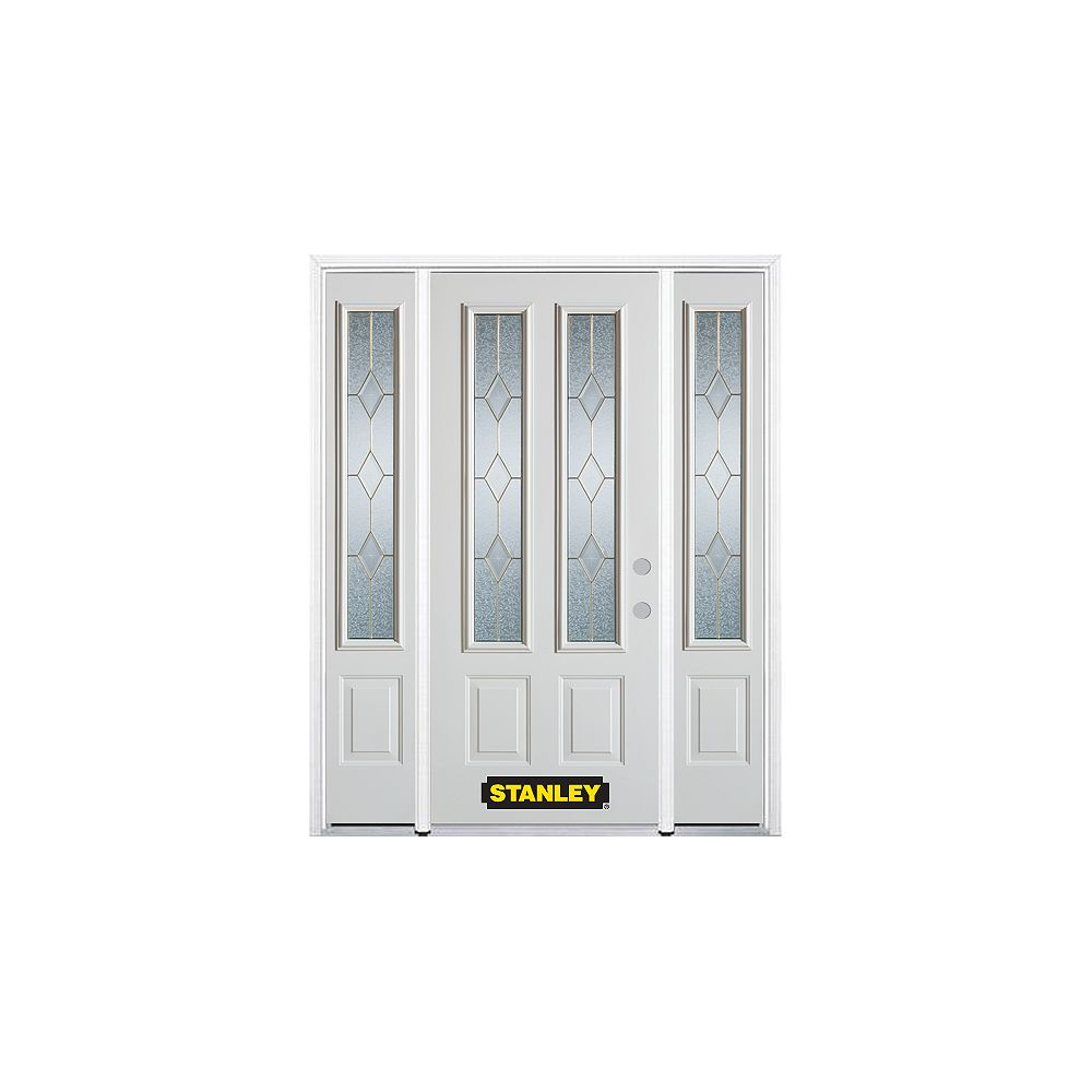 STANLEY Doors 64.5 inch x 82.375 inch Tulip Brass 2-Lite 2-Panel Prefinished White Left-Hand Inswing Steel Prehung Front Door with Sidelites and Brickmould