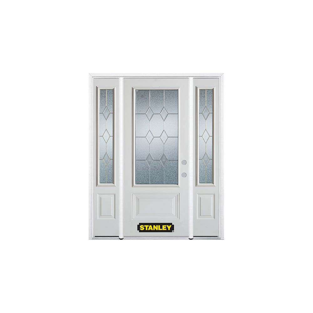 STANLEY Doors 64.5 inch x 82.375 inch Tulip Brass 3/4 Lite 1-Panel Prefinished White Left-Hand Inswing Steel Prehung Front Door with Sidelites and Brickmould