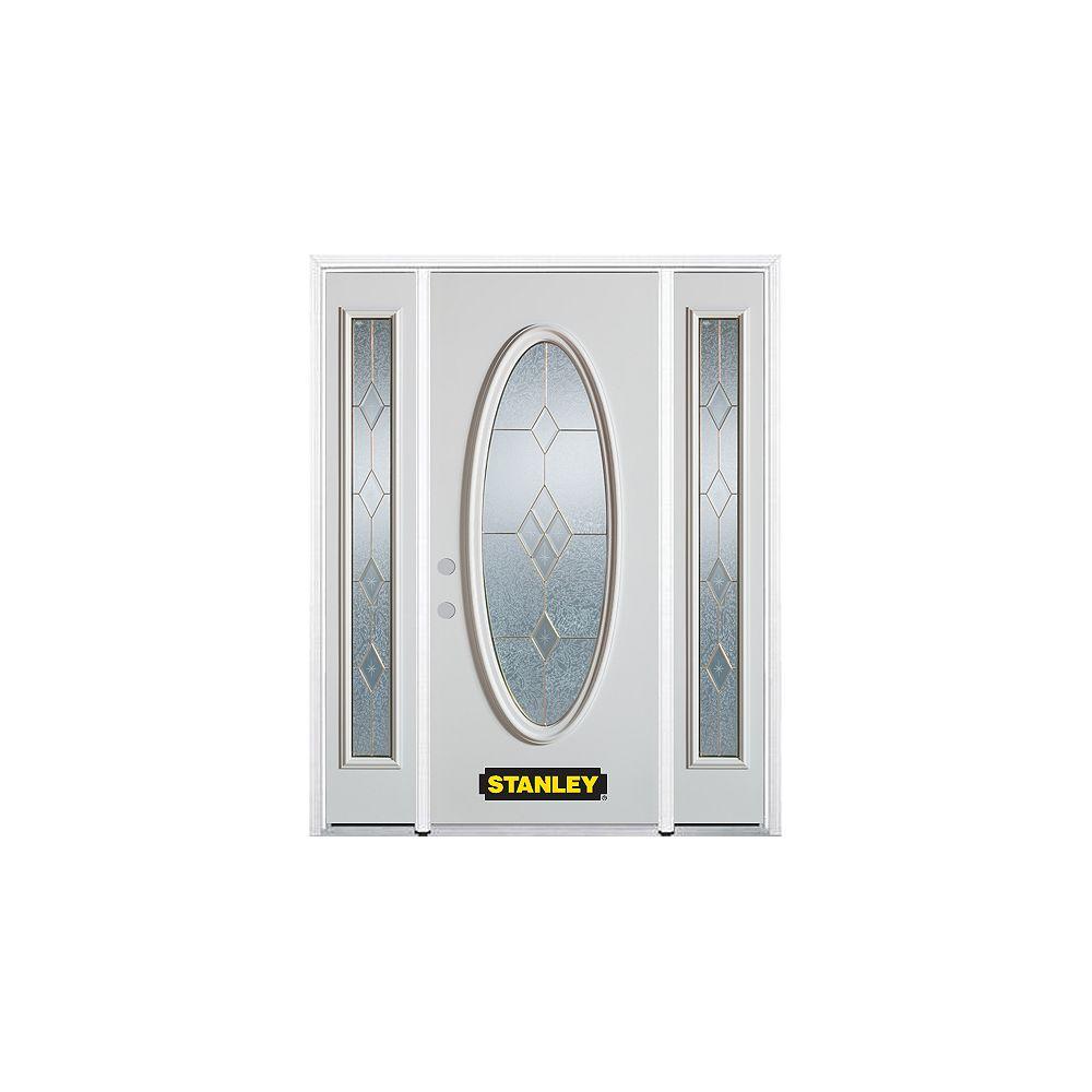 STANLEY Doors Porte dentrée en acier préfini en blanc, munie dun verre ovale, 64 po x 82 po avec panneaux latéraux et moulure de brique