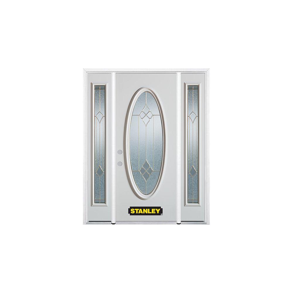STANLEY Doors Porte dentrée en acier préfini en blanc, munie dun verre ovale, 66 po x 82 po avec panneaux latéraux et moulure de brique