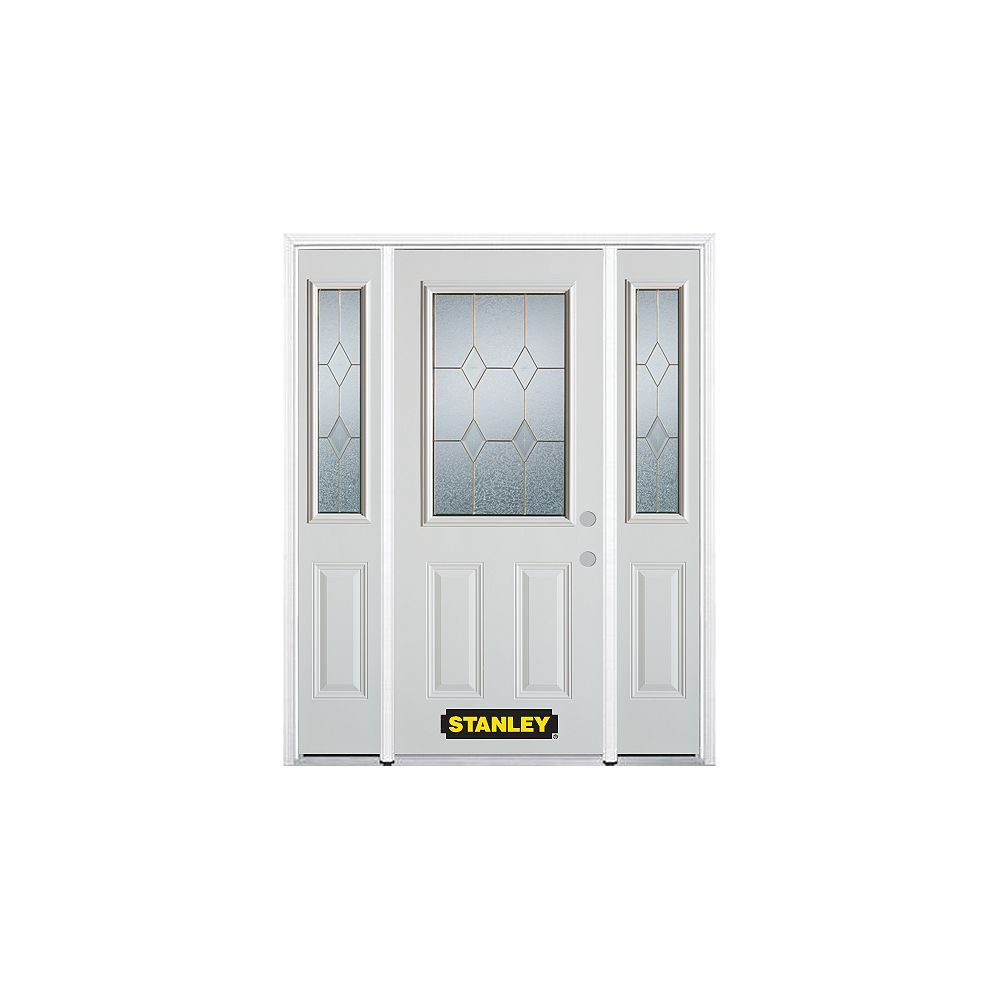 STANLEY Doors 66.5 inch x 82.375 inch Tulip Brass 1/2 Lite 2-Panel Prefinished White Left-Hand Inswing Steel Prehung Front Door with Sidelites and Brickmould