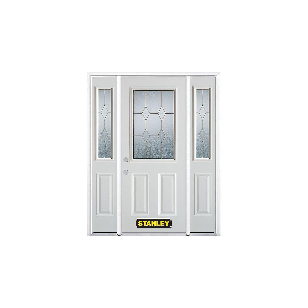 STANLEY Doors Porte dentrée en acier préfini en blanc, munie de deux panneaux et dun 1/2 verre, 64 po x 82 po avec panneaux latéraux et moulure de brique