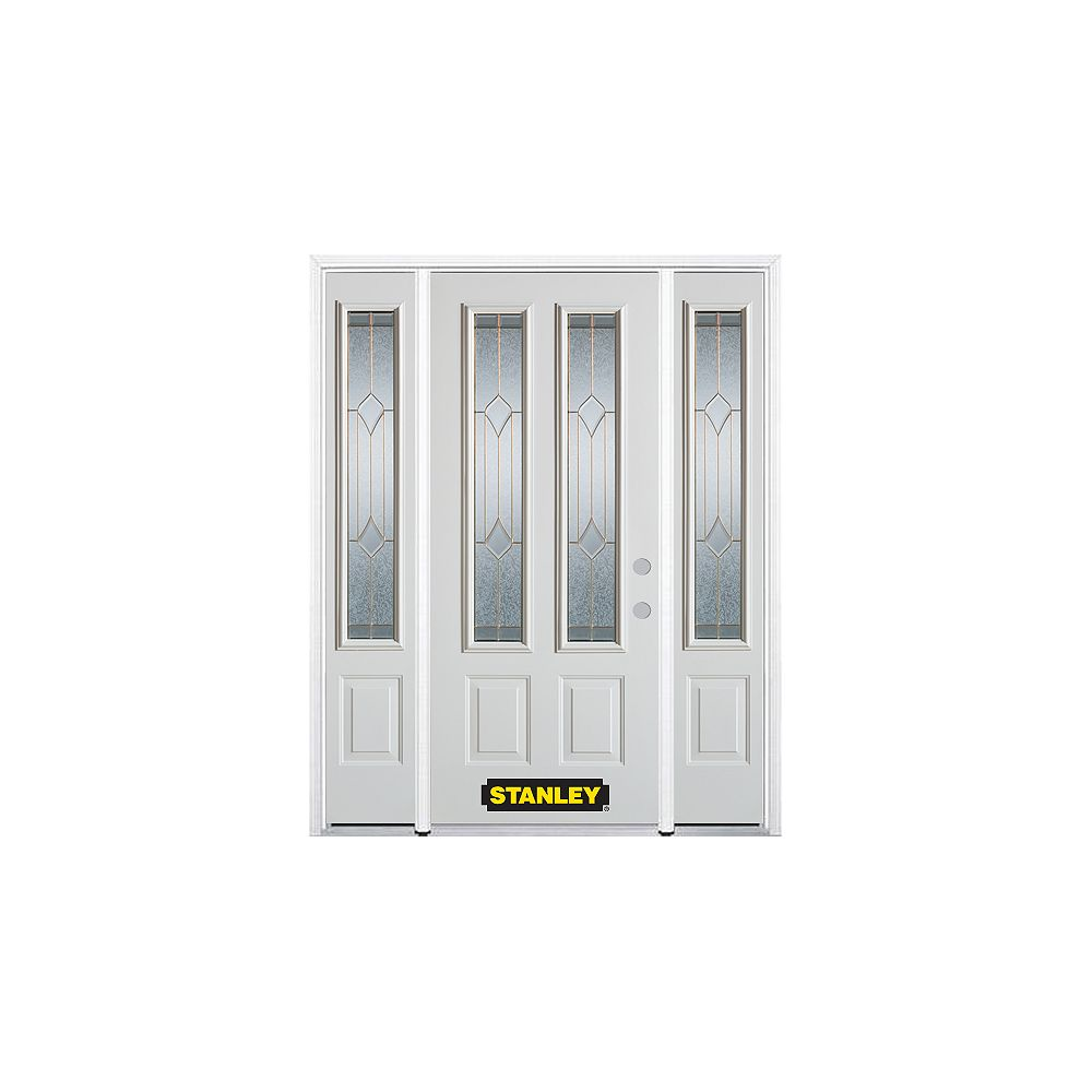 STANLEY Doors 64.5 inch x 82.375 inch Beatrice Brass 2-Lite 2-Panel Prefinished White Left-Hand Inswing Steel Prehung Front Door with Sidelites and Brickmould