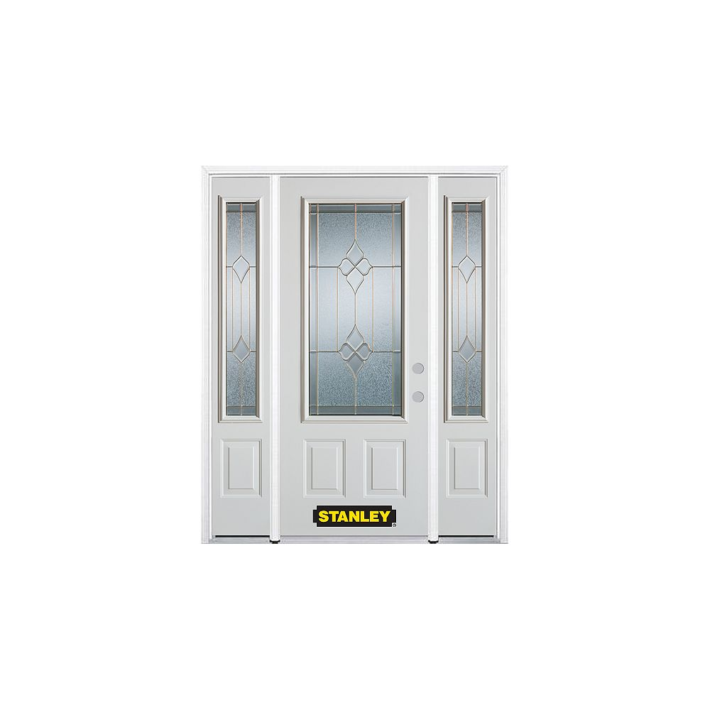 STANLEY Doors 64.5 inch x 82.375 inch Beatrice Brass 3/4 Lite 2-Panel Prefinished White Left-Hand Inswing Steel Prehung Front Door with Sidelites and Brickmould